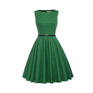 Dresses & Skirts - Green Boatneck Vintage Tea Belted Dress